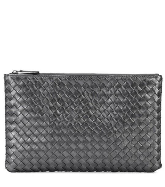 Bottega Veneta leather clutch metallic clutch leather silver bag