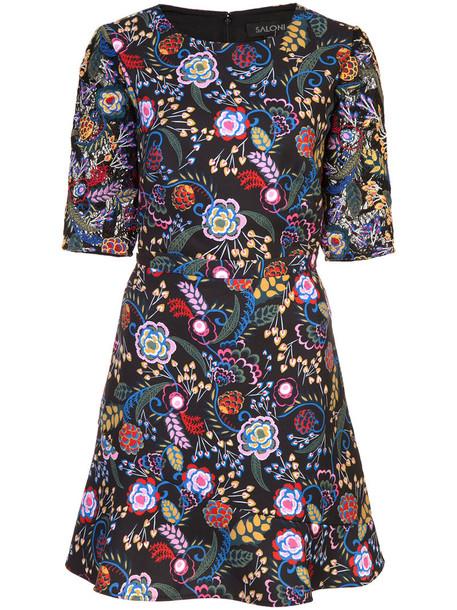 Saloni dress print dress women spandex floral print black