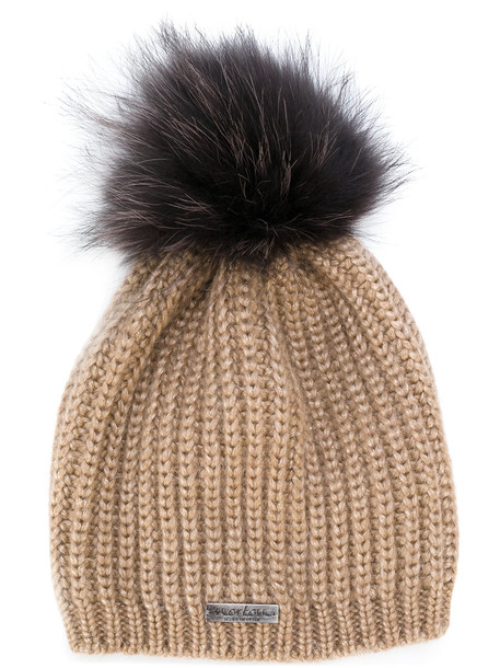 fur beanie pom pom beanie knit brown hat
