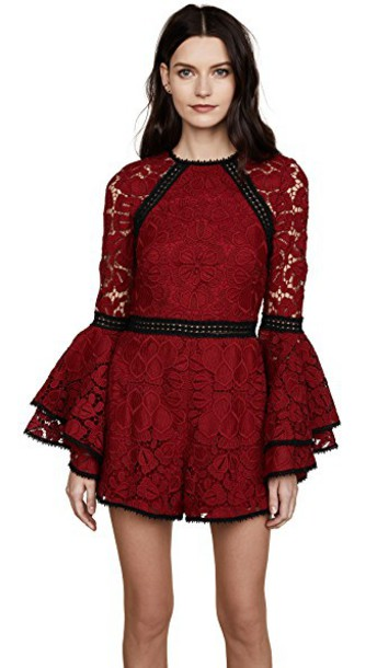 Alexis romper dark lace dark red red lace red