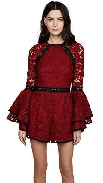 romper dark lace dark red red lace red