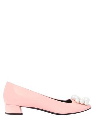 embellished pumps leather pink shoes
