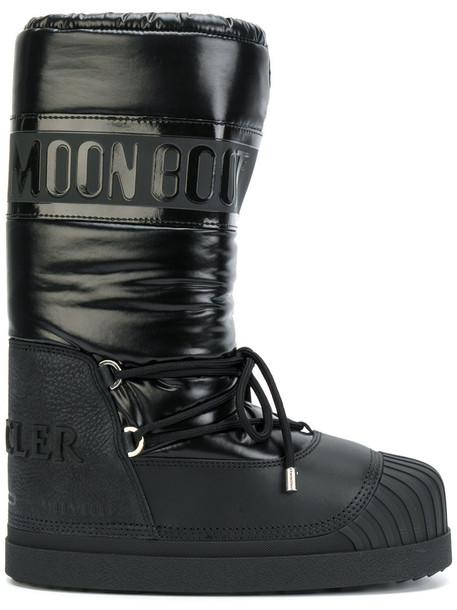 moncler women moon leather black shoes