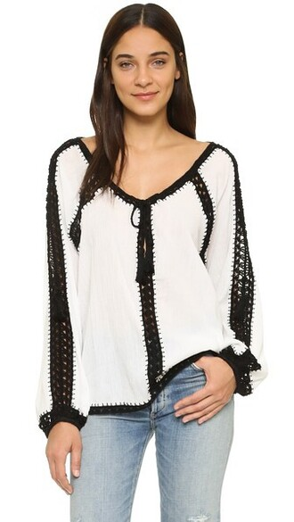 blouse boho white black top