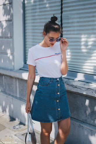 skirt tumblr mini skirt denim denim skirt button up button up skirt t-shirt white t-shirt