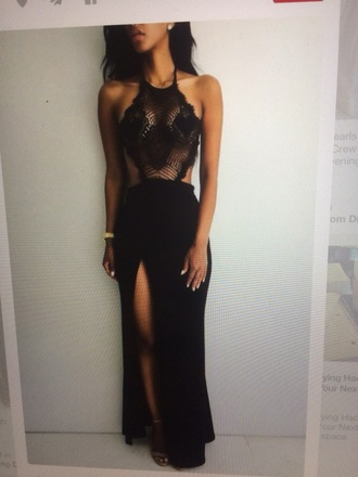 dress black prom heart lace backless slit high thigh