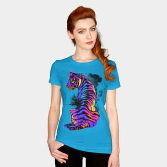 shirt tiger print tiger tee graphic tee colorful bright big cats tiger shirt neon splash ink men's t shirt women's t-shirt wild animal animal clothing