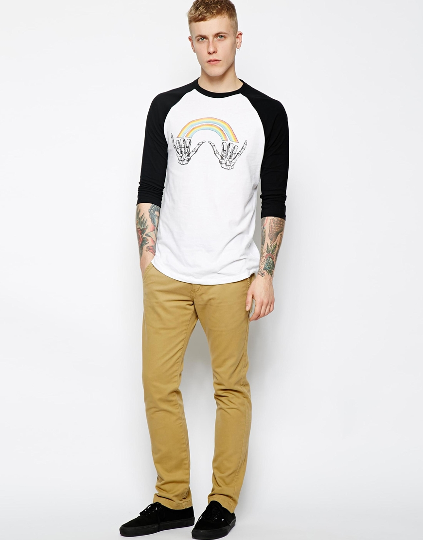 Vans Baseball Top With Double Shaka at asos.com