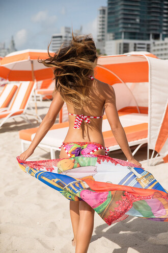 swimwear bikini agua bendita bikini bottoms bikini top latina print tie side triangle multicolor bikiniluxe