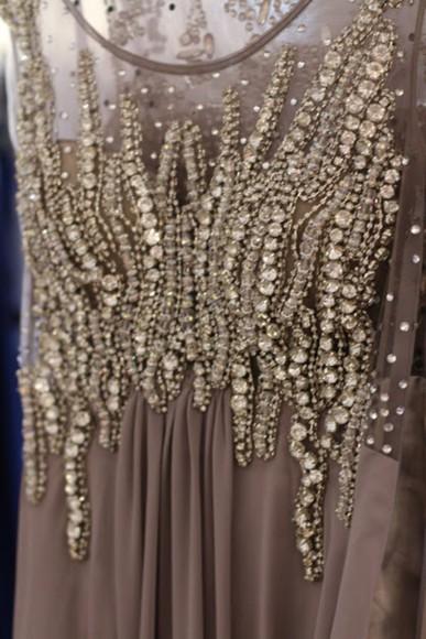 prom dress prom diamonds embroidered