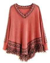top,coral and black,batwing sleeves,cape top,poncho sweater,v neck,fringe hem,tassel hem,coral top,www.ustrendy.com
