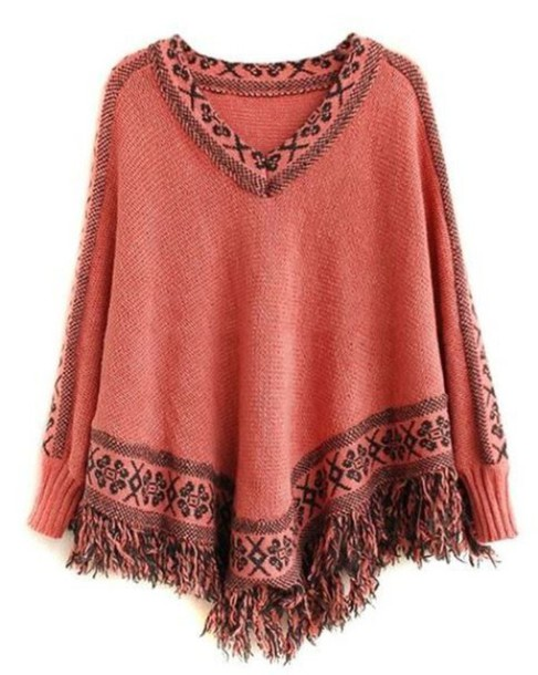 top coral and black batwing sleeves cape top poncho sweater v neck fringe hem tassel hem coral top www.ustrendy.com