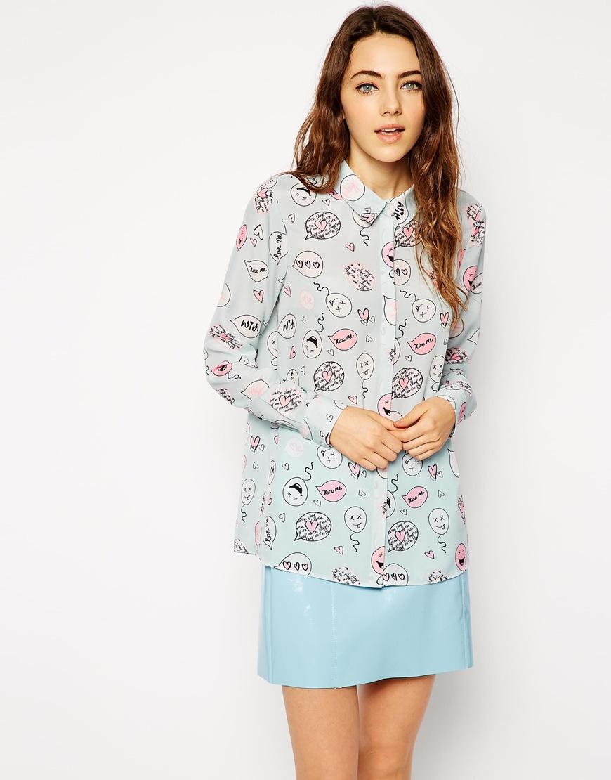 Asos blouse in speech bubble print at asos.com
