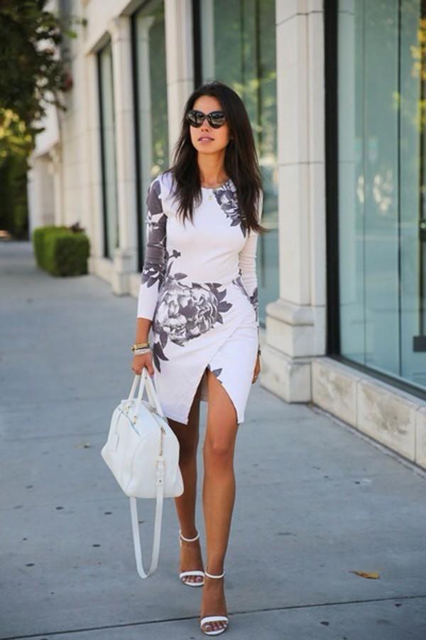 dress white floral bodycon midi skirt midi dress