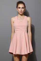 dress,cross back,skater dress,pink,women,pleated,blogger