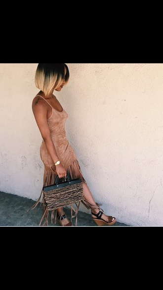dress suede fringes brown tan cool bobby raffin nude dress spaghetti strap