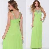 dress,greek style dress,chiffon gown,lime green dress,formal wear,discountdressshop
