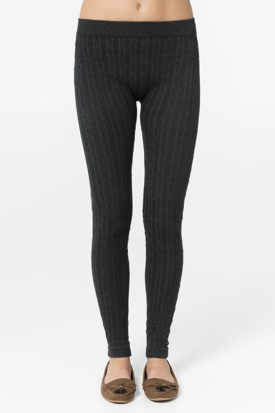 Heather charcoal cable knit leggings