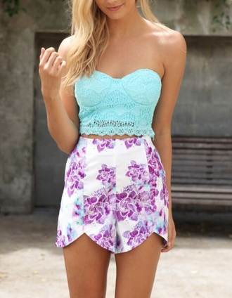 shorts floral crop tops crochet crop top blue strapless high waisted shorts blouse
