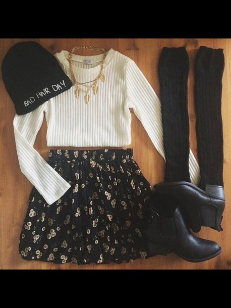 skirt crop tops shoes socks flowers beenie outfit hat