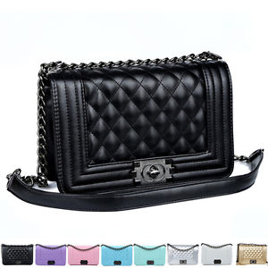 Argyle Checked Quilted Women Ladies Chain Crossbody Shoulder Clutch Tote Bags