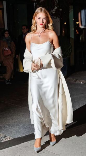 dress pumps rosie huntington-whiteley coat gown prom dress wedding dress model off-duty camisole shoes make-up necklace