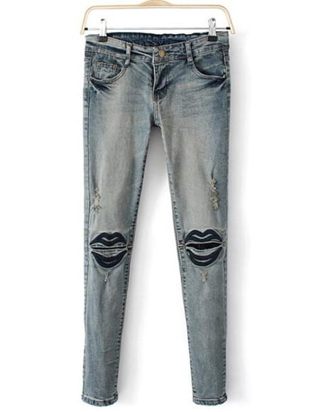 vintage jeans lips mouth torn jeans denim pants skinny jeans