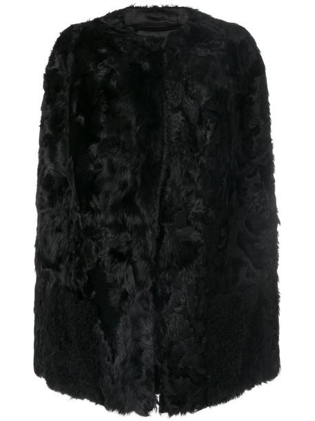 Salvatore Santoro cape sleeveless fur women black top