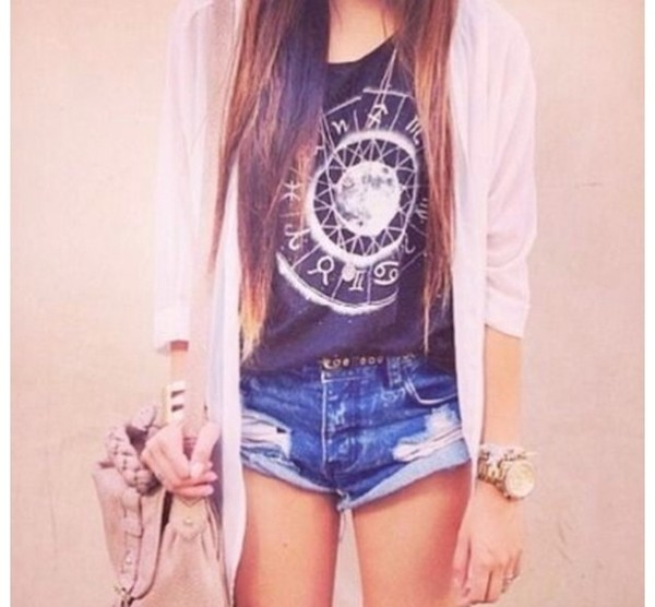 tank top black and white t-shirt cardigan high waisted denim shorts shorts jewels