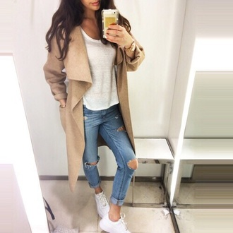waterfall jacket waterfall coat camel coat ripped jeans fall outfits white t-shirt camel cardigan coat