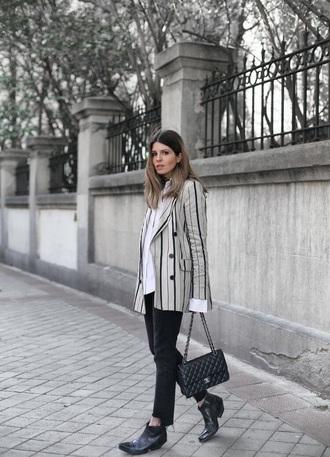 jacket blazer striped blazer shirt black boots boots bag stripes jeans denim black jeans ankle boots chanel bag