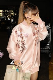 jacket,tumblr,ariana grande,celebrity style,celebrity,bomber jacket,pink bomber jacket,satin bomber,embroidered