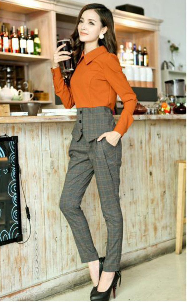 1a2d27f0dea3a3 Fashion suit chiffon peter pan collar blouse casual plaid pants from ...