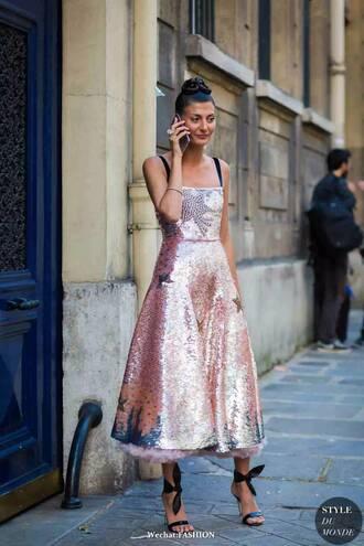dress pink sequin pink sequins sequins sequin dress midi dress pink dress streetstyle