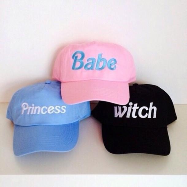hat pink hat black hat witch baseball cap pink black blue babe princess cap  light pink b733425aee0