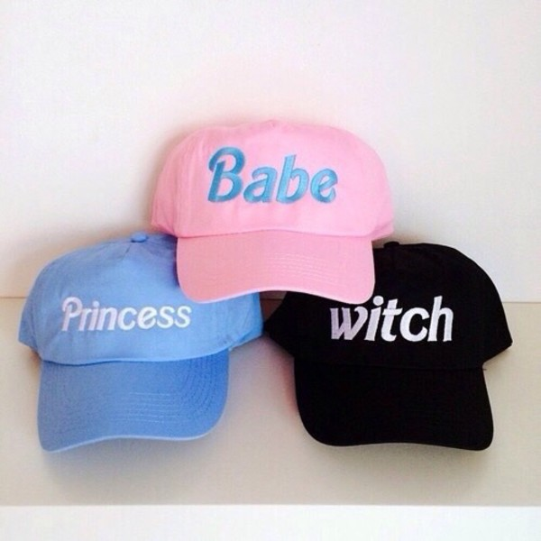 hat pink hat black hat witch baseball cap pink black blue babe princess cap light pink baby pink light blue