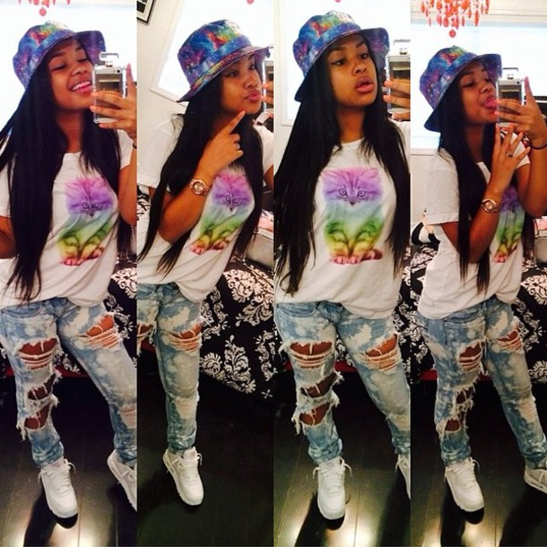 jeans hat shirt cats rainbow tie dye bucket hat galaxy print galaxy hat ripped jeans cute