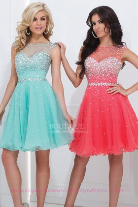 Line short/mini tulle beaded homecoming dress with keyhole back