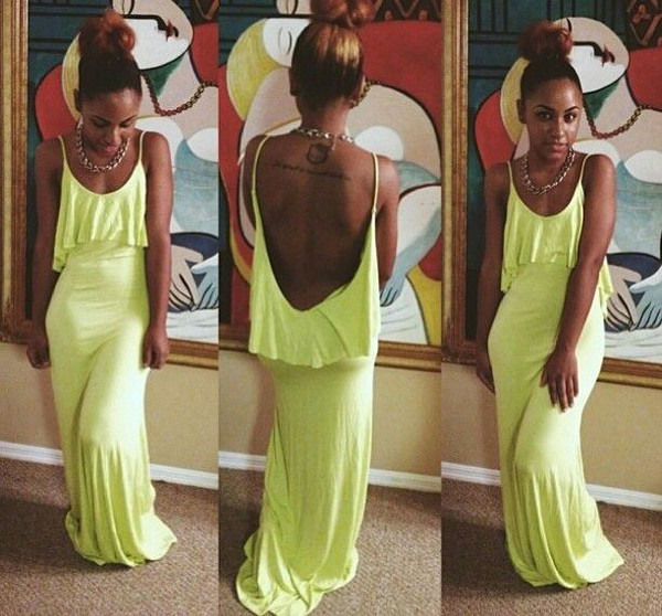 dress maxi dress long dress yellow bag