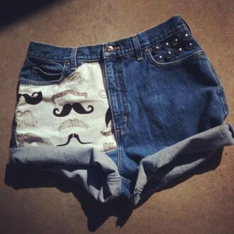 moustache shorts denim
