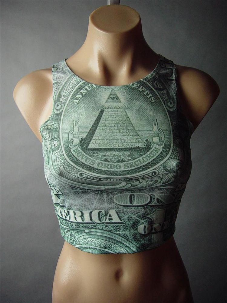 Money Dollar US Bill Novelty Graphic Print Cropped Tank Crop Top 46 FP Shirt S | eBay