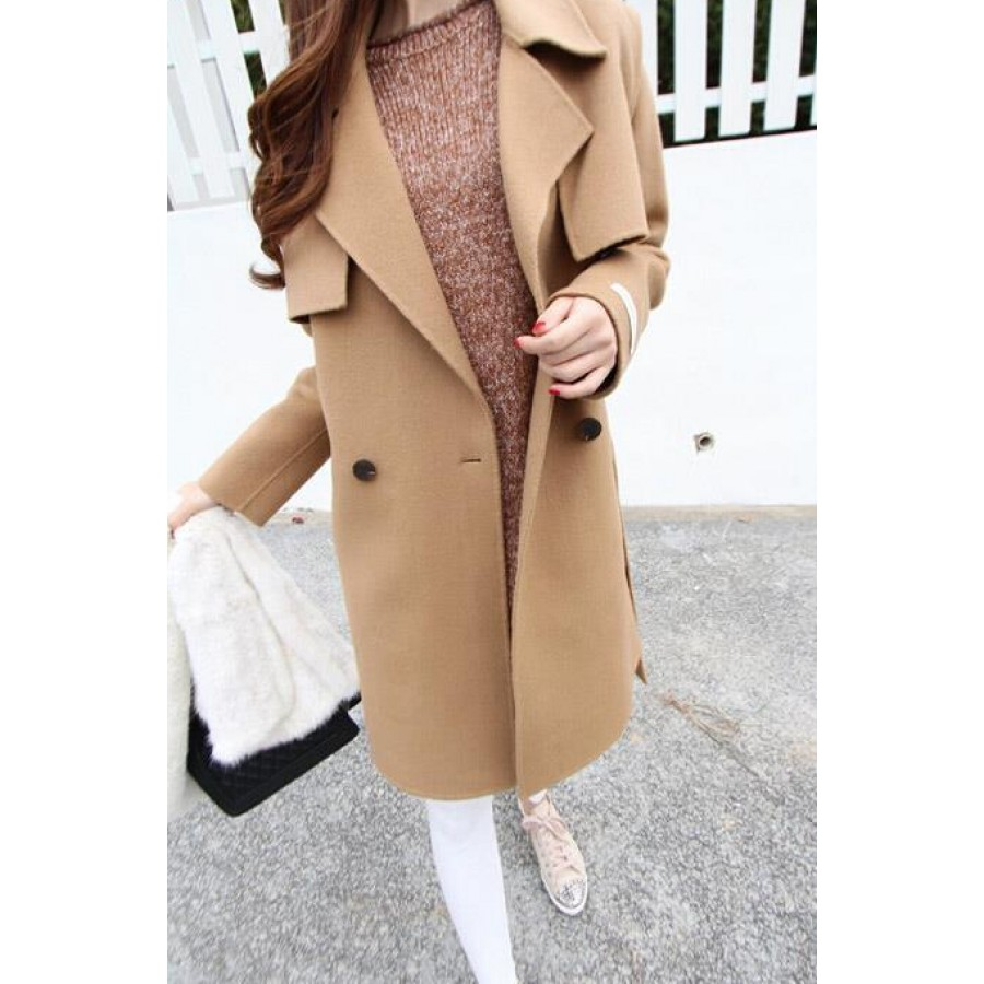 Wide Collar Wool Pea Coat