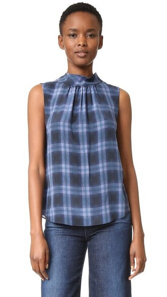top plaid sleeveless violet