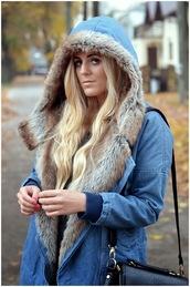 coat,romwe,denim,fur,winter outfits