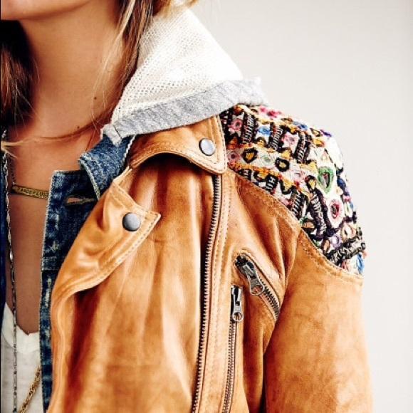 Free People - ISO: Embellished Classic Biker Jacket -Camel from Taryn's closet on Poshmark