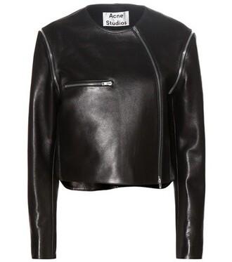 jacket leather jacket black leather jacket cropped leather black black leather