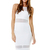 White Cocktail Dress - Cut It Out Bodycon | UsTrendy