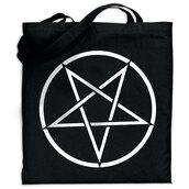 bag,tote bag,pentagram,pentagram bag,black metal tote bag,shopping bag,handbag,black carry all,grocerie bag,goth