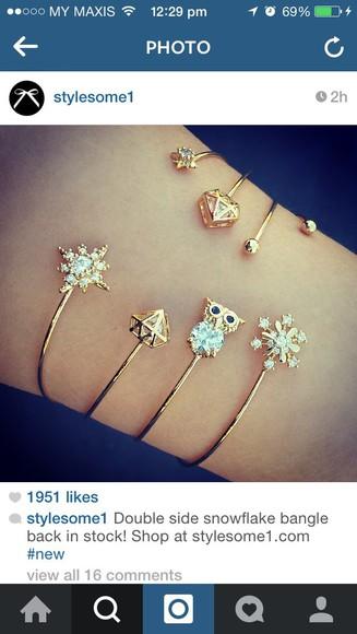 accessories jewels fashion bangles jewelry stylish bracelets snowflake