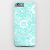 phone cover,blue,white,henna,iphone,light,flowers